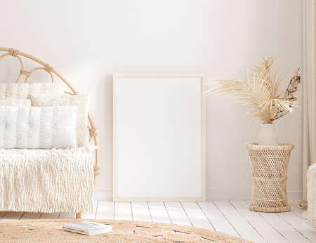 Mock up frame in home interior background, beige room with natural wooden furniture, 3d render