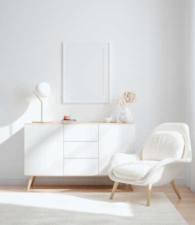 Mockup frame in interior background, room in light pastel colors, Scandinavian style, 3d render 版權商用圖片