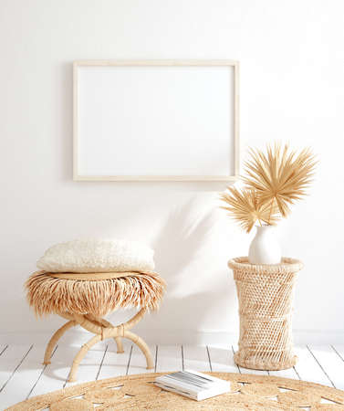 Mock up frame in home interior background, white room with natural wooden furniture, 3d render