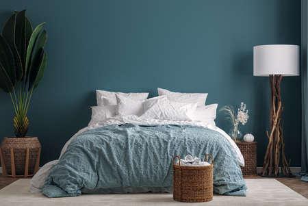 Dark green bedroom interior background, 3d render 版權商用圖片