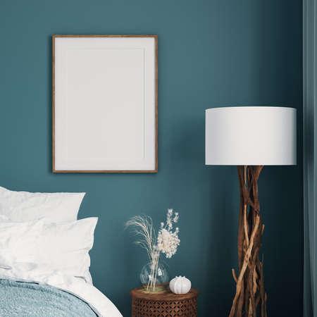 Mockup frame in dark green bedroom interior background, 3d render