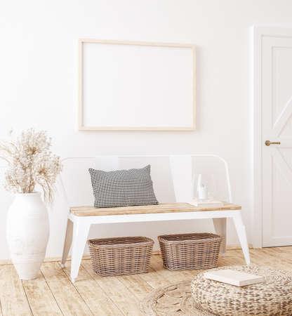 Mockup frame in farmhouse living room interior, 3d render Standard-Bild