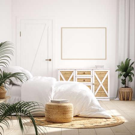 Mockup frame in bedroom interior background, Farmhouse style, 3d render 版權商用圖片