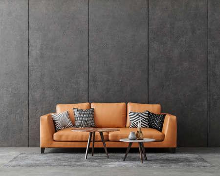 Living room interior in loft, industrial style, 3d render Stock fotó