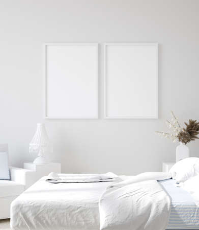 Mockup poster in white home interior background, 3d render