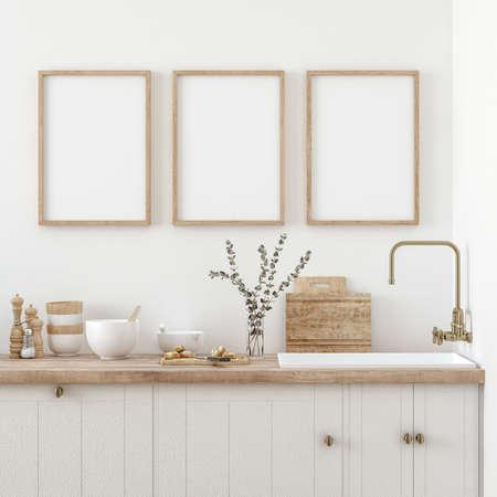 Mock up poster frame in kitchen interior, Farmhouse style, 3d render Standard-Bild