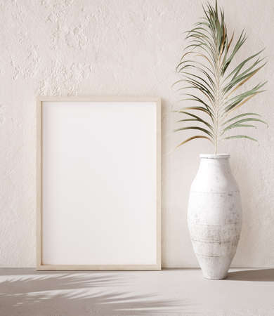 Mock up frame with palm branch in a pot close up, nomadic style, 3d render
