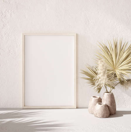 Mock up frame with palm branch in a pot close up, nomadic style, 3d render Stock Photo
