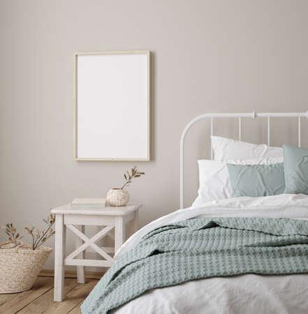 Frame mock up in farmhouse bedroom interior, 3d render