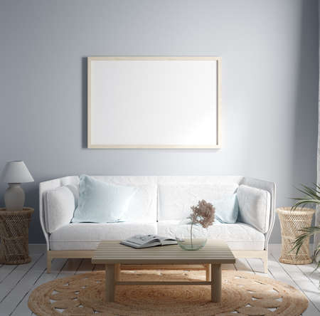Mock-up frame in cozy light home interior background, 3d render