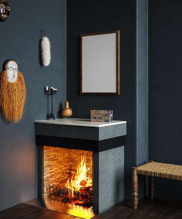 Mock up poster close up in dark home interior with fireplace, 3d render Reklamní fotografie