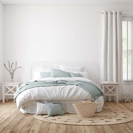 Light farmhouse bedroom interior with blank wall