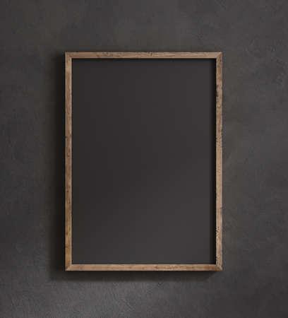 Old frame mock up close up on black wall, 3d render