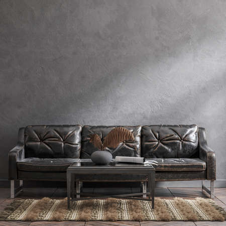 Old leather sofa in loft interior, 3d render