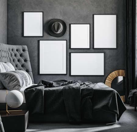 Mock up posters gallery at home, black luxury interior, 3D render Reklamní fotografie