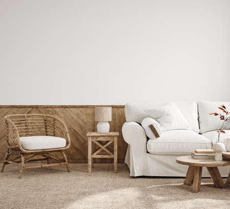 Scandinavian farmhouse living room interior, 3d render