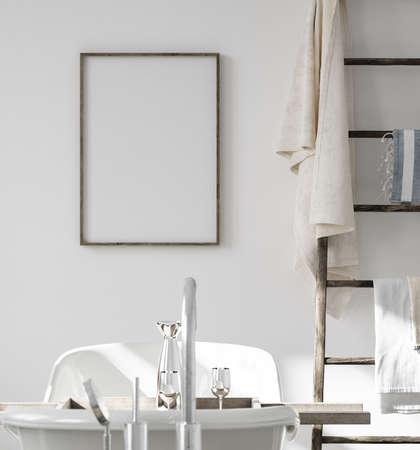 Mock up frame in bathroom interior with ladder, 3d render