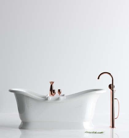 White clean bathroom interior, 3d render