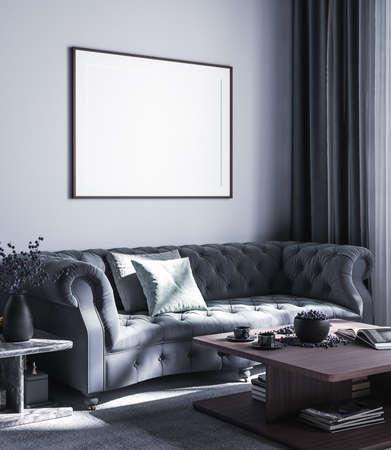 Mock up poster frame in luxury style interior background, 3D render Reklamní fotografie