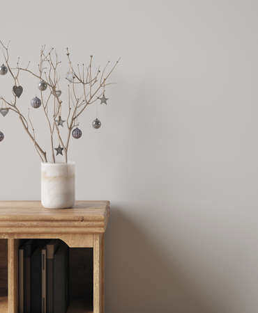 Christmas decoration on shelf close up, Wall mockup, 3d render Reklamní fotografie