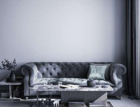 Luxury style interior background, 3D render