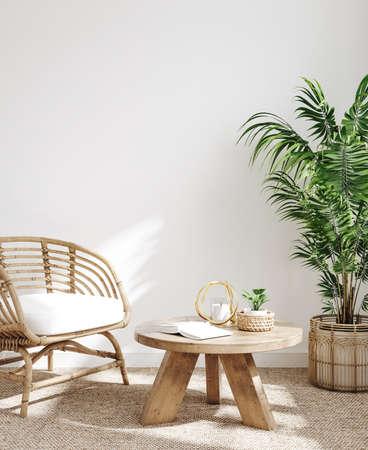 White cozy living room interior, Coastal Boho style, 3d render Standard-Bild