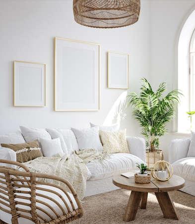 Mockup frame in living room interior background, Coastal Boho style, 3d render