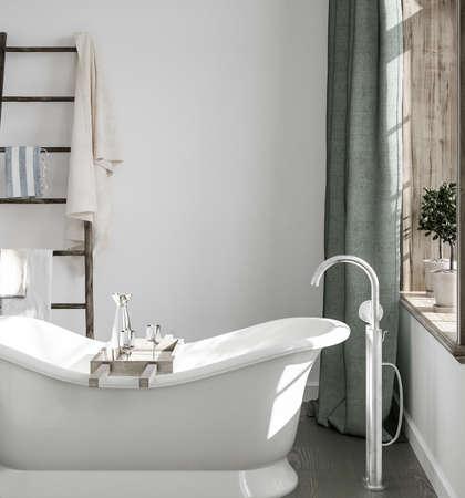 Light simple bathroom interior with ladder, 3d render Standard-Bild