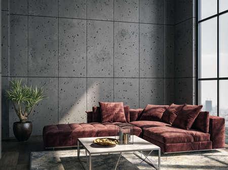 Living room interior in loft, industrial style, 3d render Reklamní fotografie