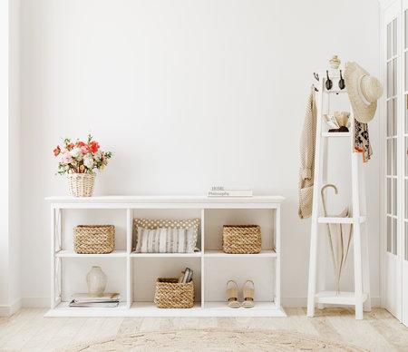 Wall mockup in white clear hallway interior, 3d render Standard-Bild