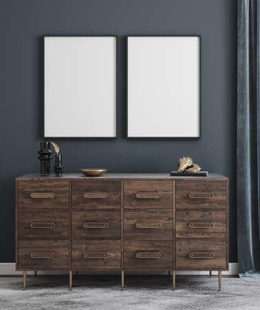 Poster mockup in modern interior background, 3d render 版權商用圖片