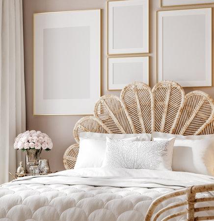 Mockup poster in luxury feminine bedroom, 3d render