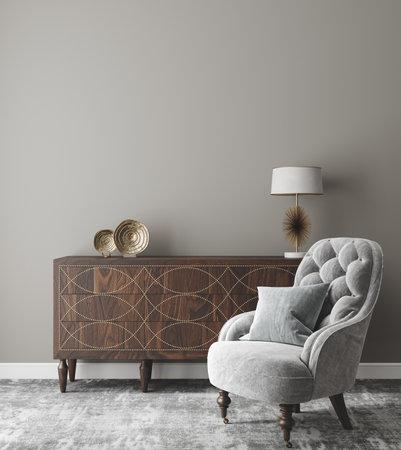 Wall mockup in modern interior background, 3d render