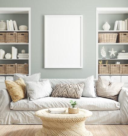 Mockup poster frame in cozy home interior background, 3d render