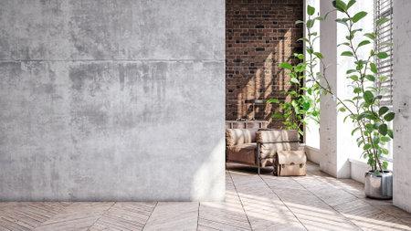 Living room loft in industrial style, 3d render Stock fotó