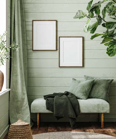 Frame mockup in farmhouse living room with couch, 3d render