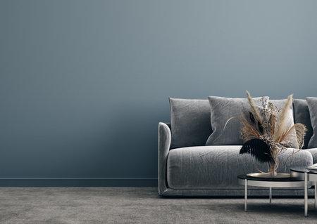 Modern interior background, wall mock up, 3d render Stock fotó