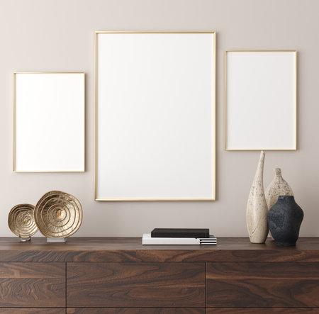 Poster mockup in modern interior background, 3d render Stock fotó