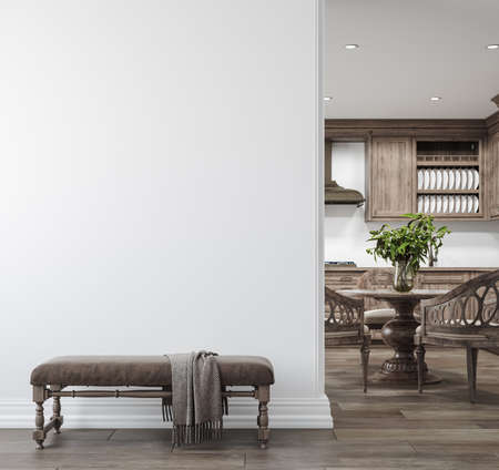Light farmhouse living room interior with dark wooden furniture, wall mockup, 3d render Archivio Fotografico