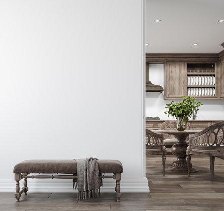 Light farmhouse living room interior with dark wooden furniture, wall mockup, 3d render Stock fotó