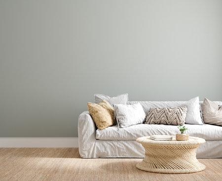 Coastal interior background, wall mock up, 3d render