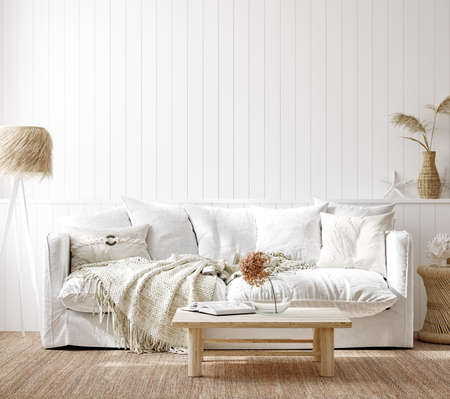 Cozy home interior background, Coastal style living room, 3d render