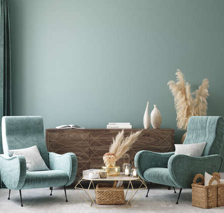 Home interior mock-up with turquoise armchairs, table and pampas, 3d render 免版税图像