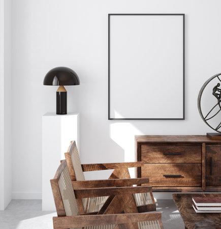 Mockup poster frame in minimalist modern interior background, 3d render Banco de Imagens