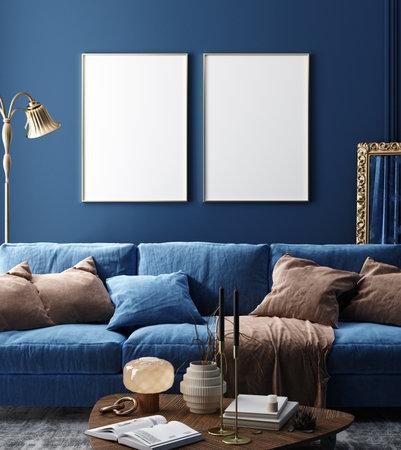 Dark blue home interior background, modern style, 3d render Banco de Imagens