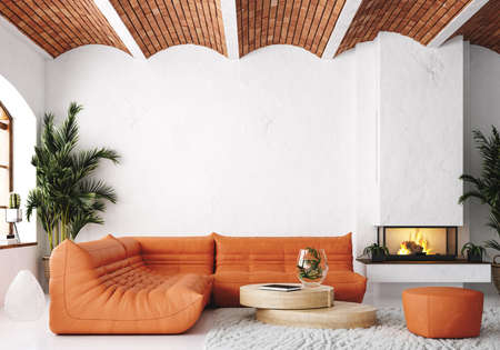 Modern living room loft with orange leather sofa and brick ceiling, 3d render