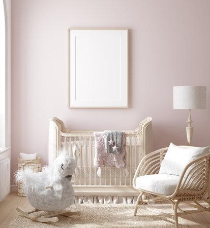 Mock up frame in girl nursery with natural wooden furniture, 3D render Banco de Imagens