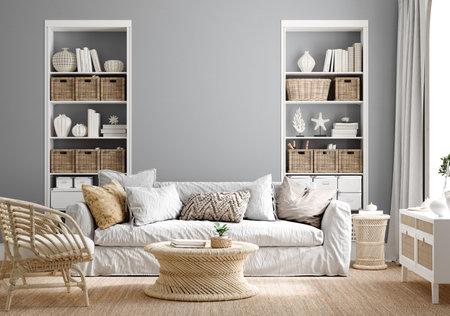 Cozy grey living room interior with coastal furniture, 3d render