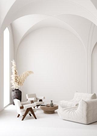 Contemporary minimalist white interior, Scandi-Boho style, 3d render