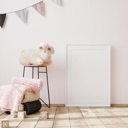 Mock up frame in children room interior background, 3D render